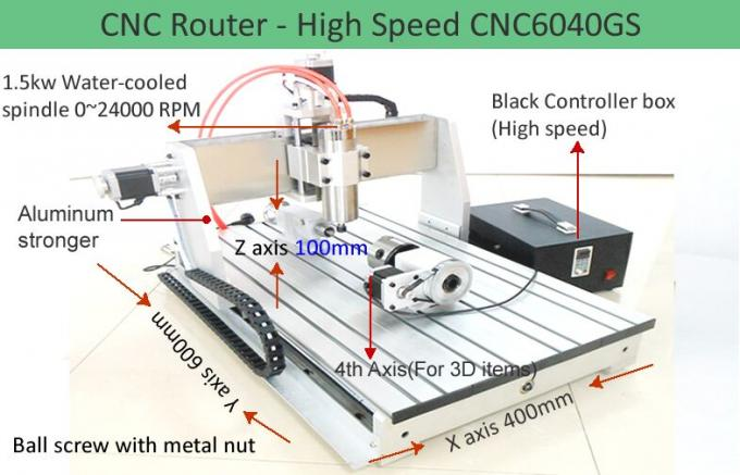 4th Axis CNC6040 High Speed Version Desktop CNC Router Machine for 3D Engraving