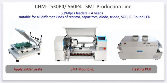 4 heads 30 Feeders Table top CHMT530P4 SMT Pick and Place Machine Batch production