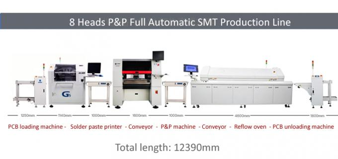 8 Heads 100 feeders High Speed In-line SMT Pick and place Machine CHM-861