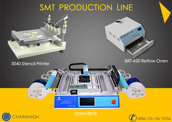 China SMT Production Line Stencil Printer 3040 / CHMT48VB SMT P&P Machine / Reflow Oven BRT-420 supplier