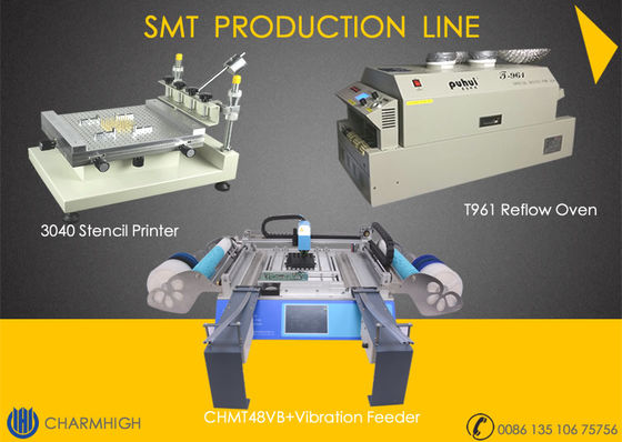 China High precision 3040 Stencil Printer + CHMT48VB with vibration Feeder + T961 Reflow Oven SMT Line supplier