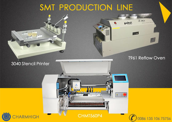 China High configuration SMT Line 60 Feeders 4 heads CHMT560P4 SMT P&P Machine / Reflow Oven T961 /  Solder paste printer 3040 supplier