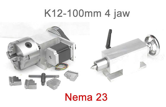 China K12-100mm Chuck 4 jaw CNC 4th Axis Hollow Shaft CNC Dividing Head for CNC Router factory